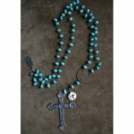 Long Turquoise Necklace With Large Silver Cross