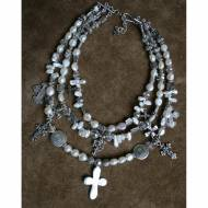 Multi Strand Pearl Necklace With Silver Cross And Coin Charms