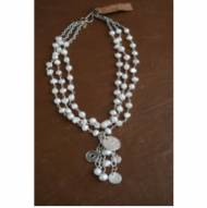 Freshwater Pearl Multi Strand Necklace With Coin Pendant