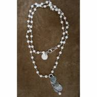Long Pearl Necklace And Coin Pendant