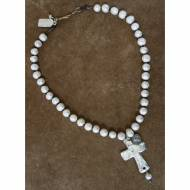 Freshwater Pearl Short Necklace With Silver Cross Pendant