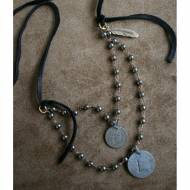 Long Pyrite Necklace With Brass Coins And Leather Tie Closure