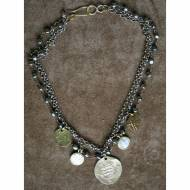 Short Silver Chain Necklace With Pyrite And Coins