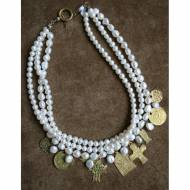 Freshwater Pearl Necklace With Brass Coins And Crosses