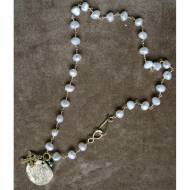 Freshwater Pearl Short Necklace With Brass Cross And Coin Pendants