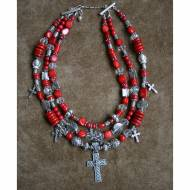 Red Coral Necklace With Silver Cross Pendant