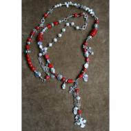 Long Necklace With Red Coral And Silver Cross Charms