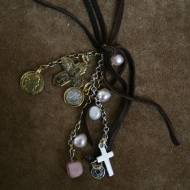Leather Necklace With Multi Brass And Silver Charms, Opals, And Pearls
