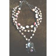 Multi Strand Opal And Pearl Necklace With Cross Charms