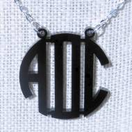 Acrylic Monogram Floating Circle Block Necklace