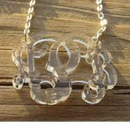 Acrylic Monogram Floating Vine Script Necklace