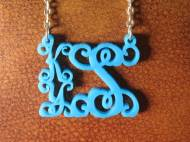 Acrylic Stack Monogram Floating Vine Script Necklace