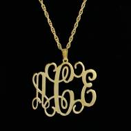 Floating Gold Filigree Monogram Medium Pendant