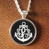 Engraved Monogram Anchor Acrylic Color Disc Pendant