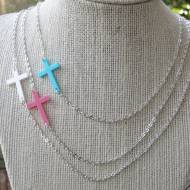 Acrylic Sideways Cross Necklace