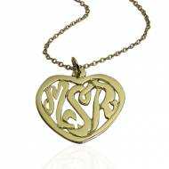 Monogrammed Heart Pendant On A Center Bale