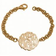 Monogrammed Split Chunky Bracelet In Gold . Sterling Silver Or Rose Gold.