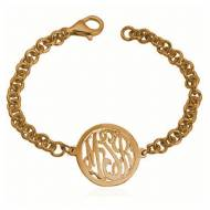 Monogrammed Bracelet With Script And Border Monogram Pendant