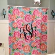 Monogrammed Fun Print Shower Curtain