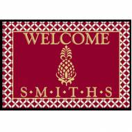 Personalized Welcome Mat With Burgundy And Gold Pineapple