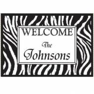 Personalized Welcome Door Mat With Zebra Print