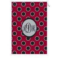 Monogrammed Gamecock Laundry Bag With Garnet And Black Polka Dots