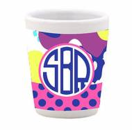 Monogrammed Fun Print Ceramic Shot Glass