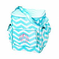 Monogrammed Aqua Chevron Cooler Bag With Side Pockets