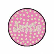 Childs Round Personalized Pink And Green Polka Dot Needlepoint Rug