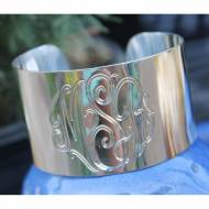 Wide Sterling Silver Cuff Bracelet With Hand Engraved Monogram