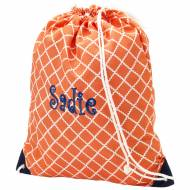 Monogrammed Coral Scalloped Diamond Drawstring Bag