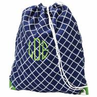 Monogrammed Blue Scalloped Diamond Drawstring Bag