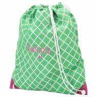 Monogrammed Green Scalloped Diamond Drawstring Bag