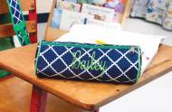 Monogrammed Blue Scalloped Diamond Pencil Or Toiletry Case