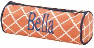 Monogrammed Coral Scalloped Diamond Pencil Or Toiletry Case