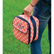 Monogrammed Coral Scalloped Diamond Lunch Bag