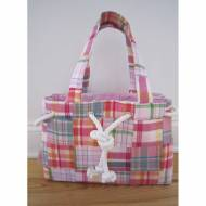 Monogrammed Preppy Plaid Rope Trim Handbag