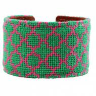Pink And Green Quatrefoil Needlepoint Cuff