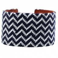 Navy & White Chevron Needlepoint Cuff