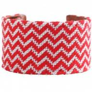 Red & White Chevron Needlepoint Cuff