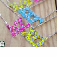 Greek Acrylic Letters Floating Necklace In Chevron Print