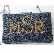 Monogrammed Beaded Clutch Or Shoulder Bag