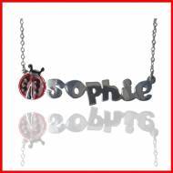 Child's Lady Bug Name Necklace In Sterling Silver