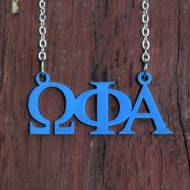Greek Omega Phi Alpha Acrylic Necklace