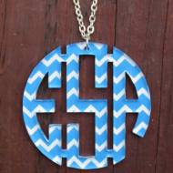 Monogram Chevron Circle Acrylic Necklace
