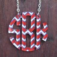 Monogram Floating Circle Chevron Necklace