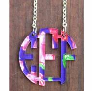 Monogram Floating Circle Necklace With Francesca Joy Pattern