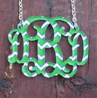 Monogram Floating Vine Script Chevron Necklace