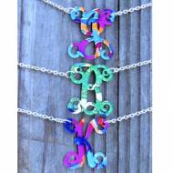 Monogram Vine Script Single Letter Necklace With Francesca Joy Pattern