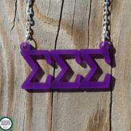 Greek Acrylic Floating Letters Sigma Sigma Sigma Necklace